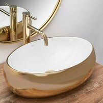 Lavoar alb/auriu pe blat Rea Linda Gold White 48,3 cm