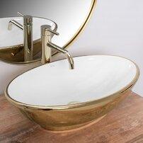Lavoar alb/auriu pe blat Rea Pamela Gold 33 cm