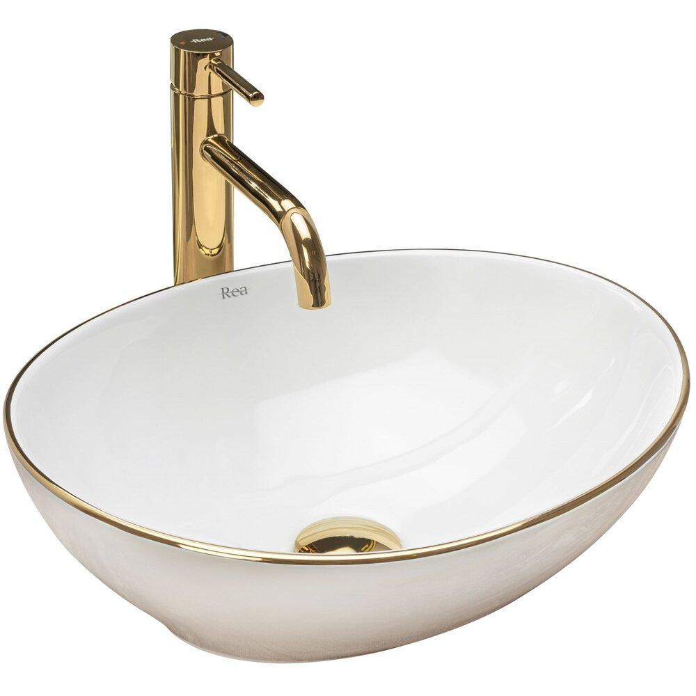 Lavoar alb/auriu pe blat Rea Sofia Golg Edge 41 cm imagine
