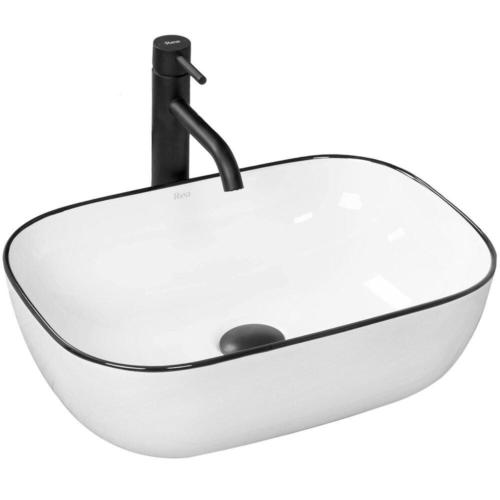 Lavoar negru/alb pe blat Rea Marbel 47 cm imagine