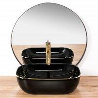Lavoar negru/auriu pe blat Rea Belinda Black Gold 33 cm