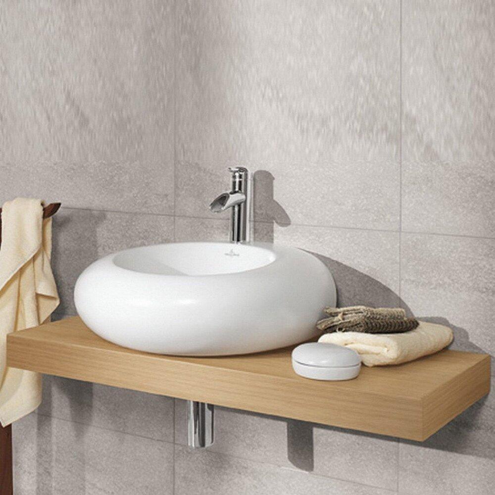 Lavoar Blat Pure Stone Ceramicplus Asimetric Alb