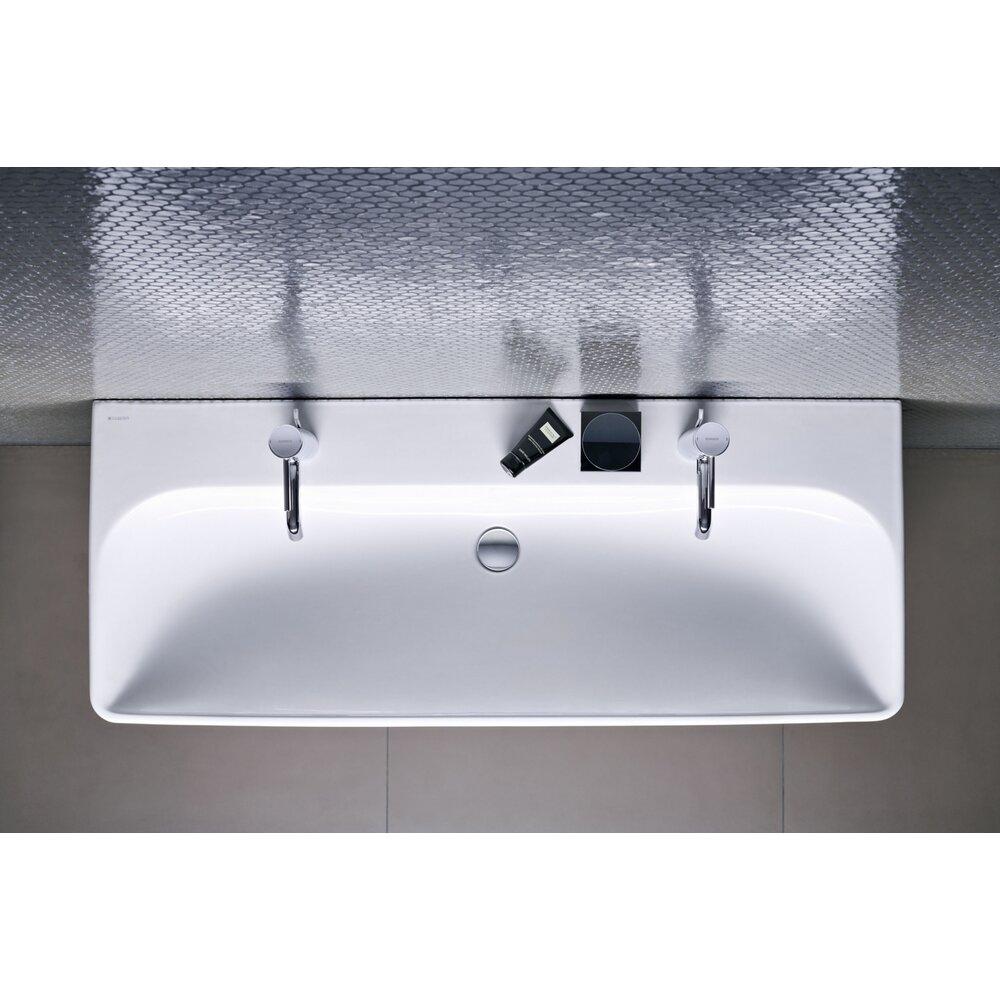 Lavoar pe mobilier Geberit Smyle Square 120 cm cu orificiu baterie stanga si dreapta imagine