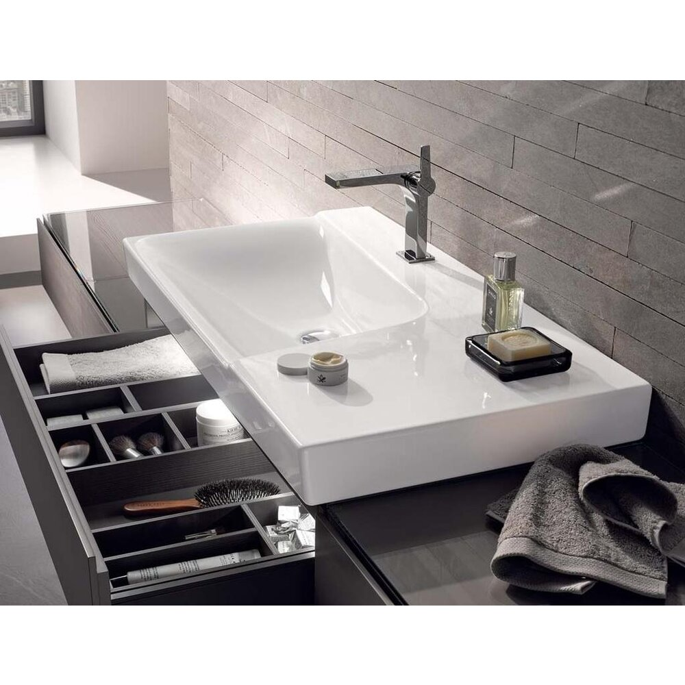 Lavoar pe mobilier Geberit Xeno² 90 cm cu blat dreapta fara orificiu baterie imagine