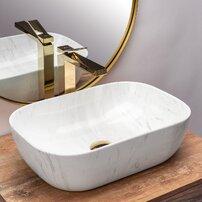 Lavoar stil marmura alb pe blat Rea Belinda Calala 46 cm