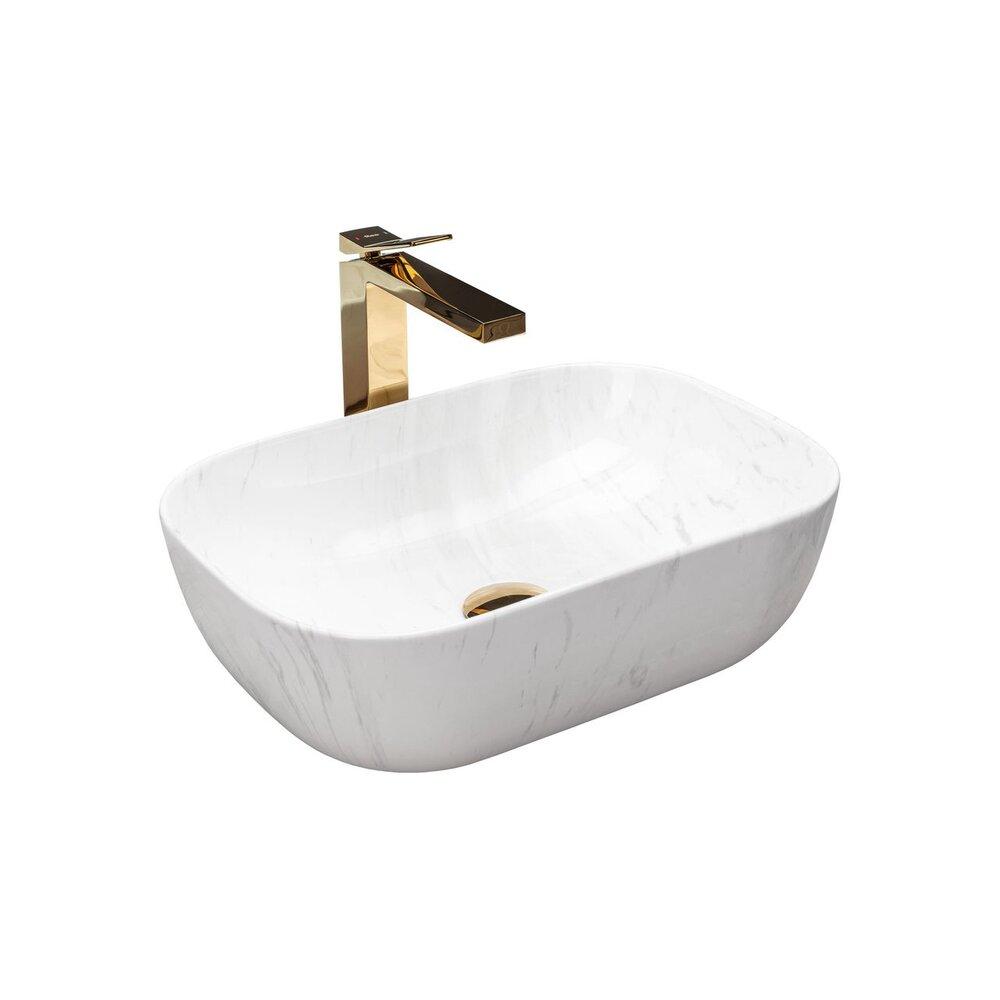 Lavoar stil marmura alb pe blat Rea Belinda Calala 46 cm imagine neakaisa.ro