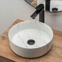 Lavoar stil marmura alb pe blat Rea Sami Marble Matowa 36 cm