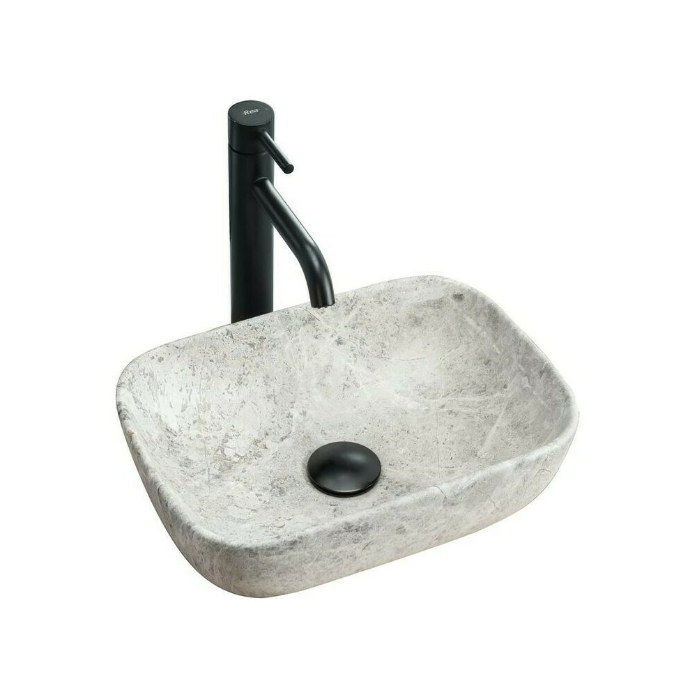 Lavoar stil piatra gri pe blat Rea Camelia Light Stone 34.5 cm poza