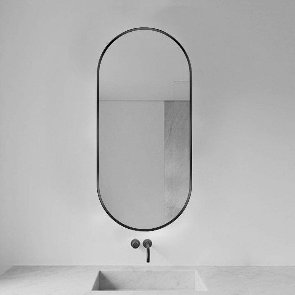 Oglinda ovala 70 cm Rea rama metalica neagra KLMR-3570 poza