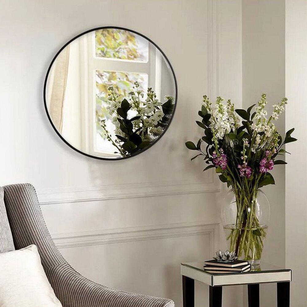 Oglinda rotunda 40 cm Rea rama slim neagra KLMH-0410B neakaisa.ro