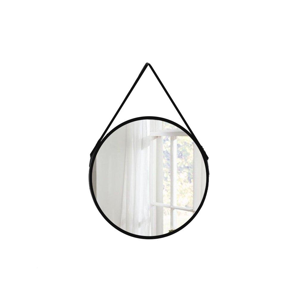 Oglinda Rotunda Mona Margine Piele Neagra