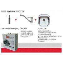 Pachet Teka Tekaway Stylo 1B chiuveta Stylo 1B inox satinat + baterie ML/MF2 cu dozator pentru detergent