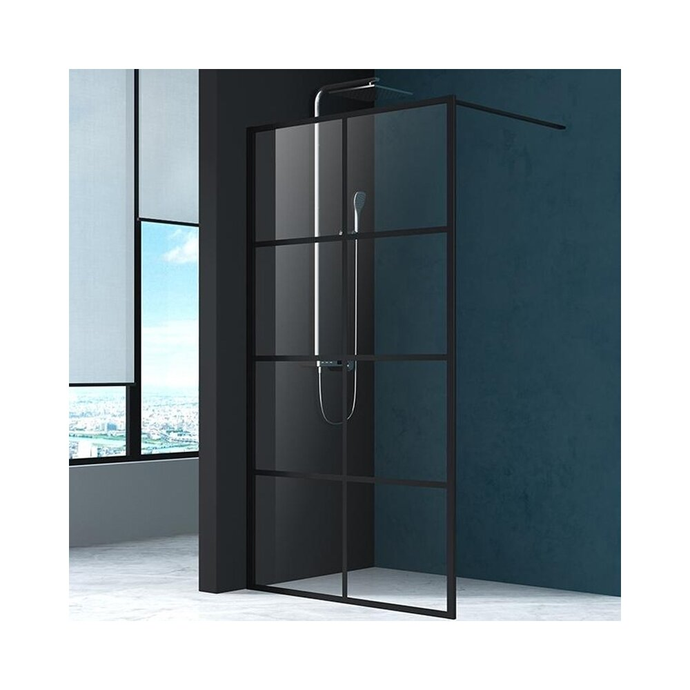 Paravan de dus Mediterraneo Black 8 90x200 cm sticla securizata imagine