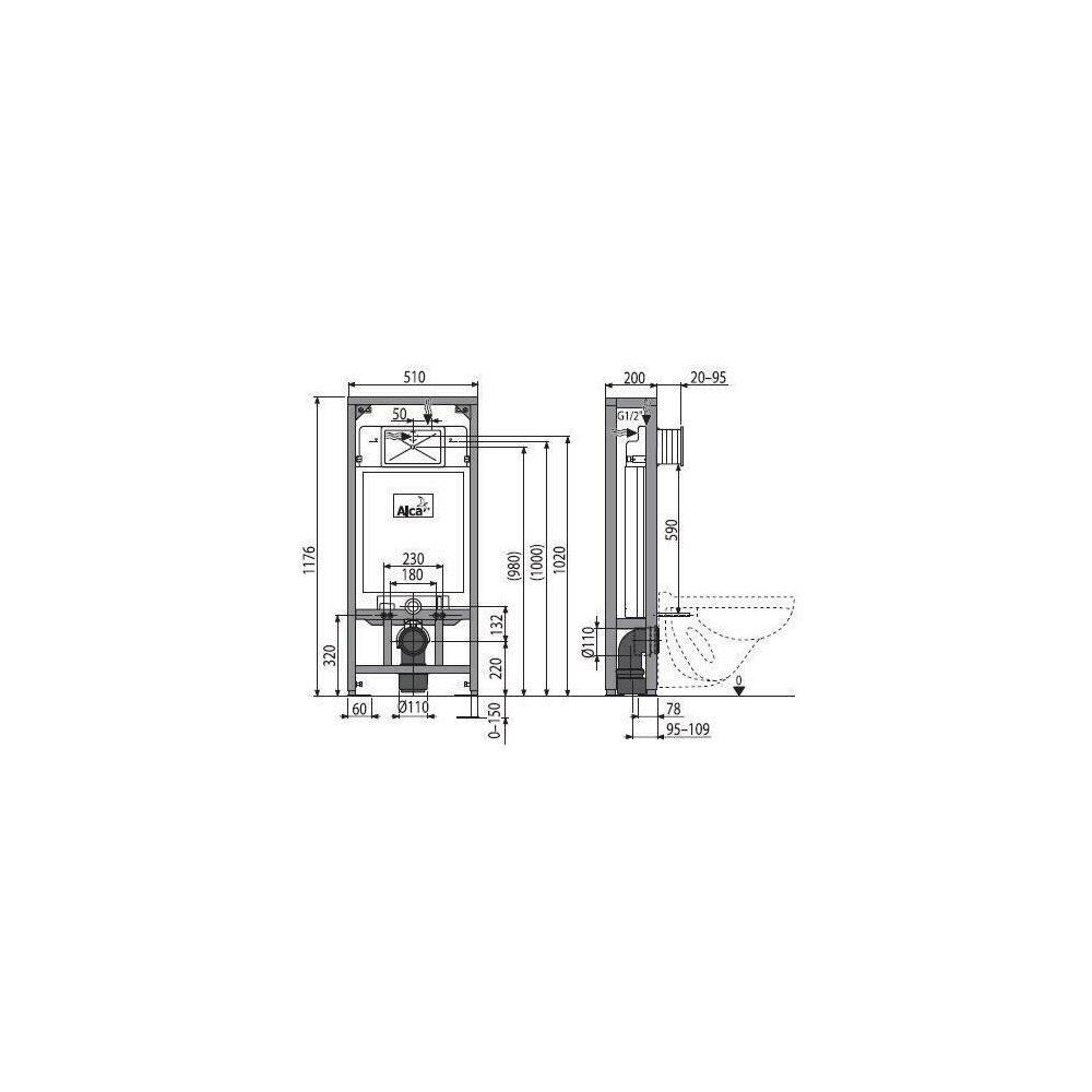 Rezervor WC ingropat Alcaplast Solomodul destinat instalarii uscate sustinere proprie inaltime de instalare 1.2 m imagine