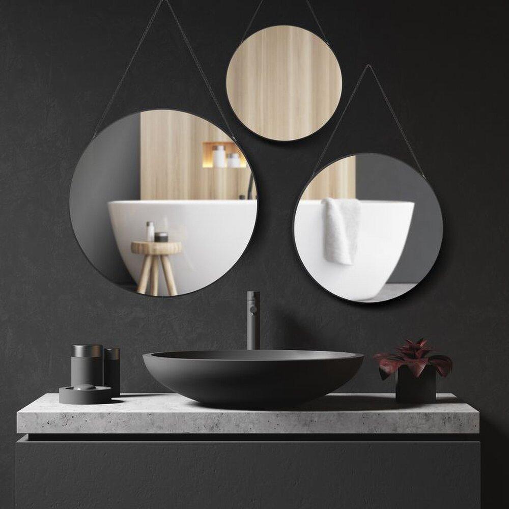 Set 3 oglinzi rotunde rama neagra MR19-3PCS poza