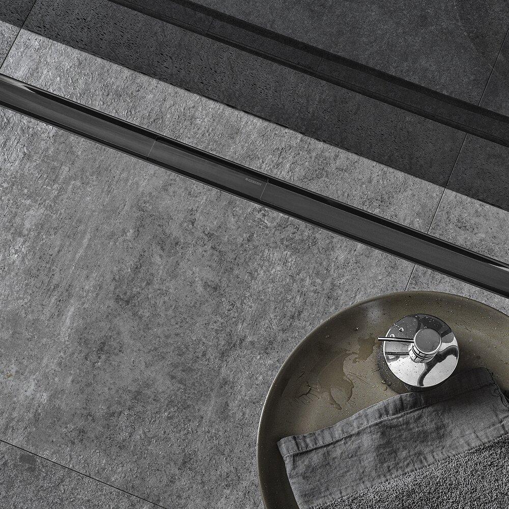 Set complet rigola Geberit CleanLine 80 negru periat lungime 30-90 cm inaltime 65-90mm imagine neakaisa.ro