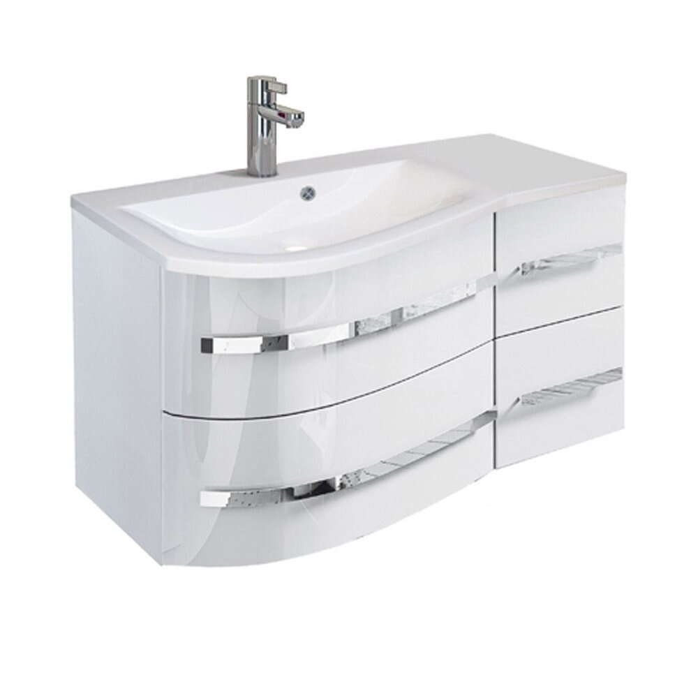 Set dulap baza suspendat si lavoar din marmura stanga ORiSTO Opal 90 cm alb cu 4 sertare imagine