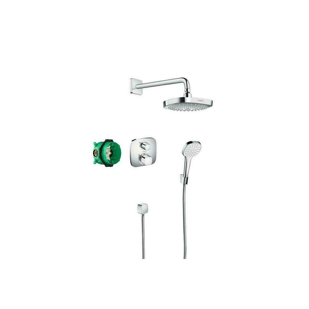 Sistem de dus cu termostat Hansgrohe Design Croma Select E Ecostat E incastrat imagine