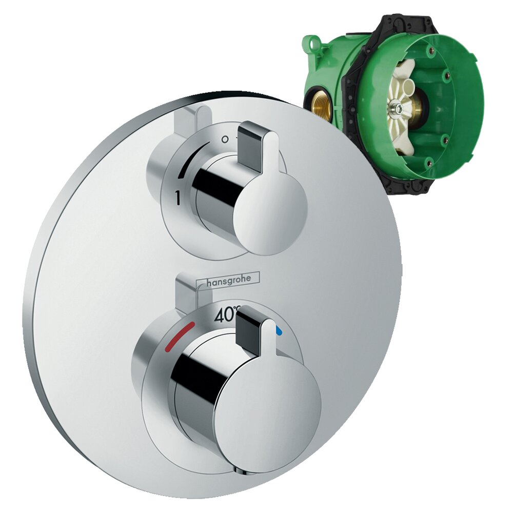 Set promo baterie dus termostatata Hansgrohe Ecostat S cu montaj incastrat, doua functii + iBox poza