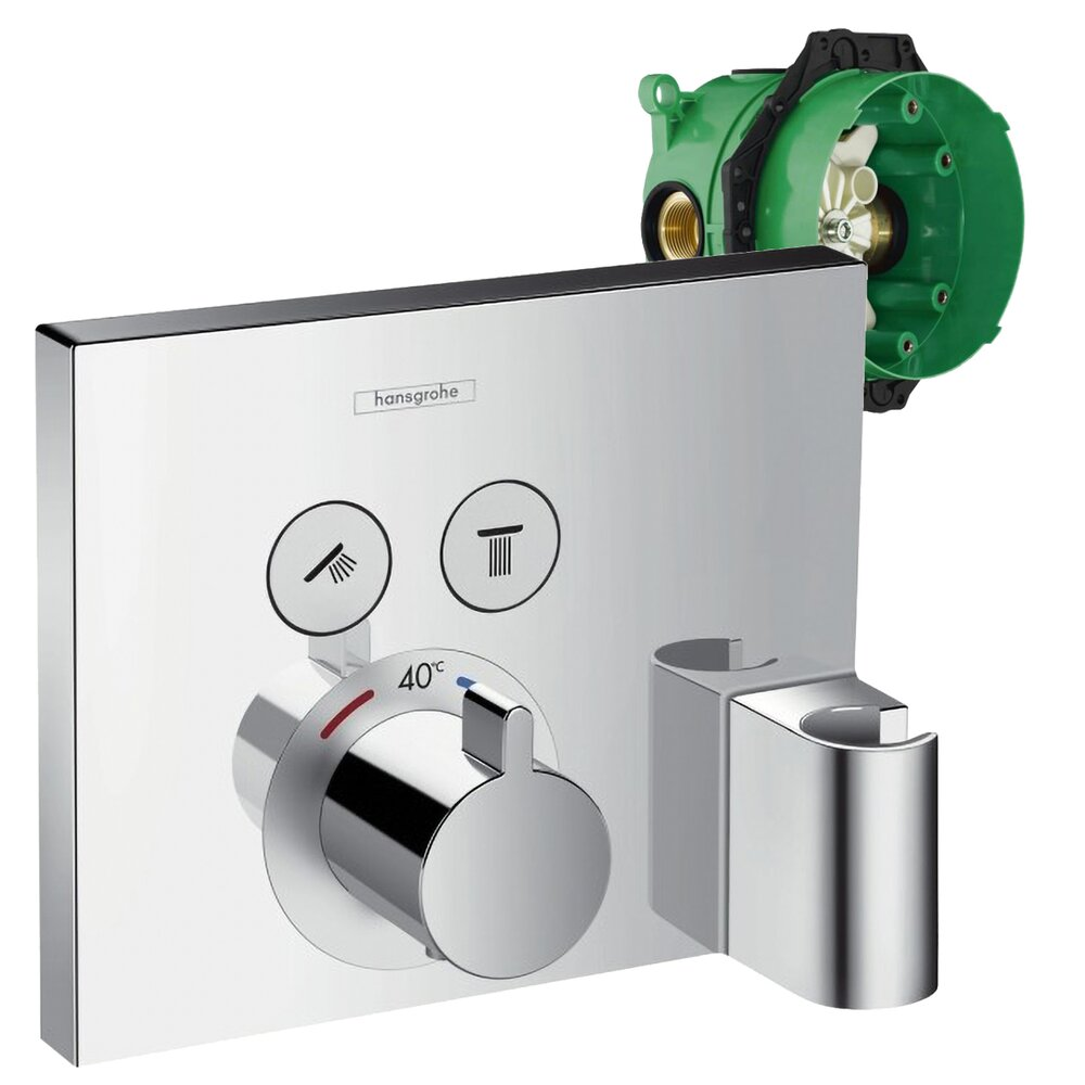 Set promo baterie dus termostatata Hansgrohe ShowerSelect cu 2 functii si agatatoare dus, montaj incastrat + iBox imagine neakaisa.ro