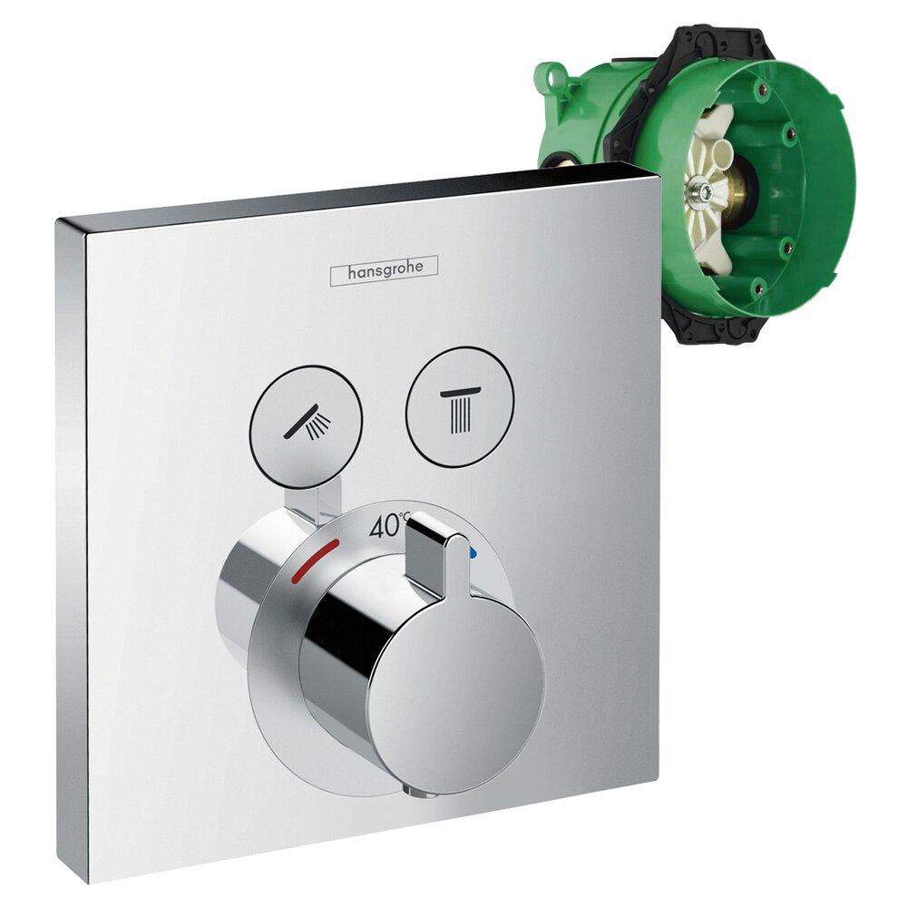 Set promo baterie dus termostatica Hansgrohe ShowerSelect + iBox corp incastrat imagine neakaisa.ro