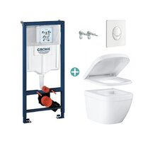 Set rezervor Grohe Rapid SL cu clapeta Skate Air alba si vas wc Grohe Euro Ceramic Compact Triple Vortex capac soft close