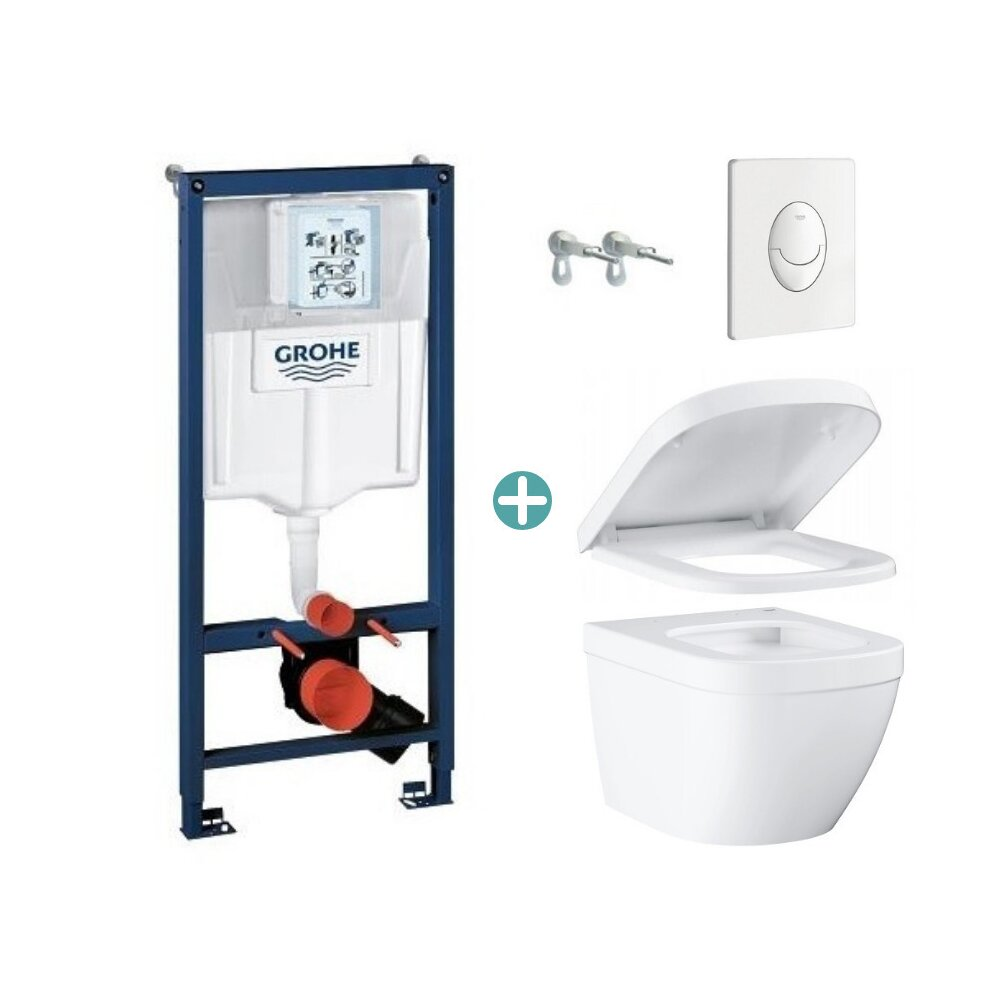 Set rezervor Grohe Rapid SL cu clapeta Skate Air alba si vas wc Grohe Euro Ceramic Compact Triple Vortex capac soft close imagine
