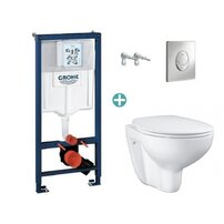 Set rezervor Grohe Rapid SL cu clapeta Skate Air crom si vas wc Grohe Bau Ceramic Rimless capac soft close