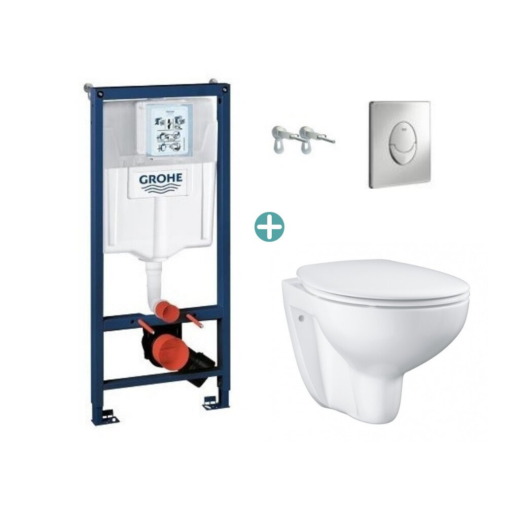 Set rezervor Grohe Rapid SL cu clapeta Skate Air crom si vas wc Grohe Bau Ceramic Rimless capac soft close imagine neakaisa.ro