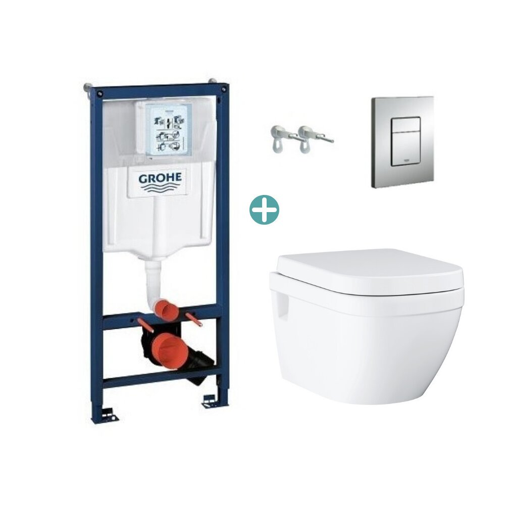 Set rezervor Grohe Rapid SL cu clapeta Skate Cosmopolitan si vas wc Grohe Euro Ceramic Triple Vortex prindere la vedere capac soft close imagine