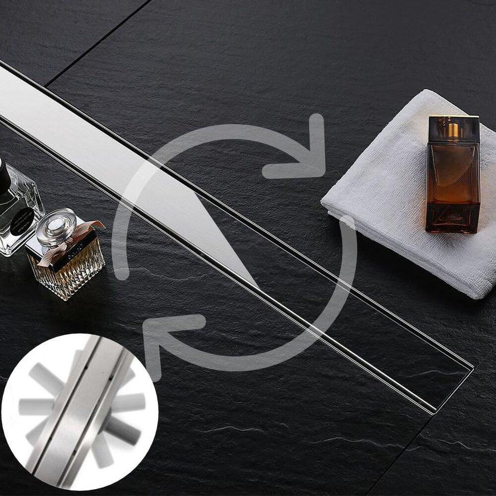 Set rigola pentru dus plus capac 80 cm Rea Pure Neo Pro Inox imagine neakaisa.ro