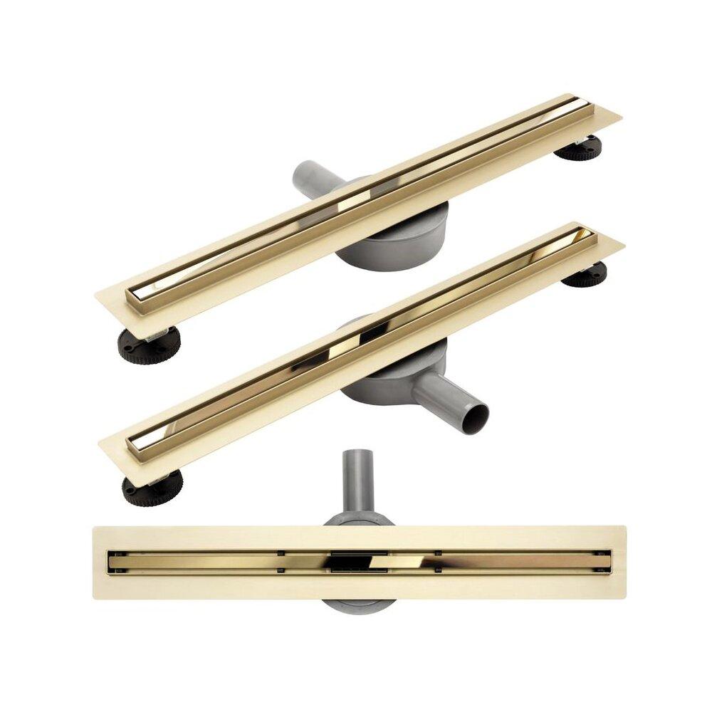 Set rigola pentru dus plus capac 90 cm Rea Neo Slim Mirror Pro Auriu imagine neakaisa.ro
