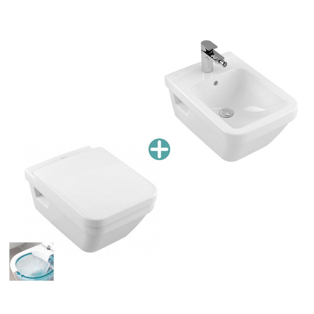 Foto Set Vas Wc Suspendat Capac Soft Close Bideu Suspendat Architectura Dreptunghiular Directflush Villeroy Boch