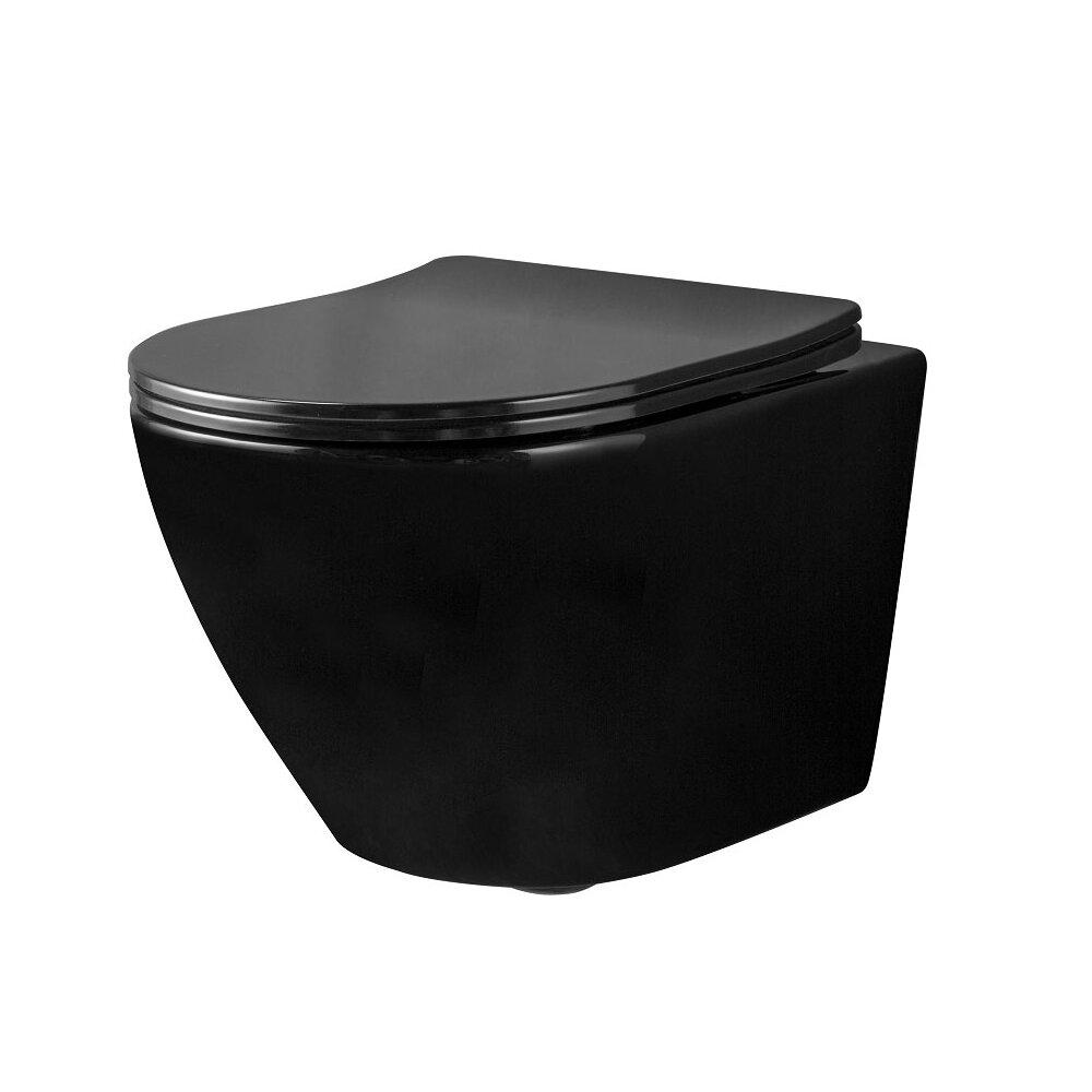 Set vas wc negru suspendat Rea Carlo Mini rimless capac slim softclose
