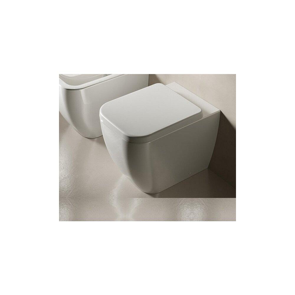 Set vas wc pe pardoseala Hatria Bianca Rimless BackToWall cu capac soft close