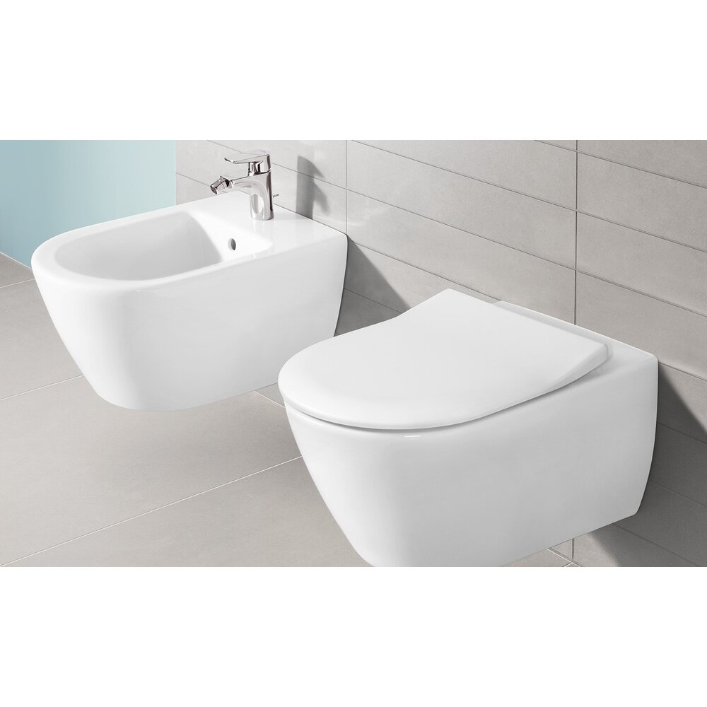 Set vas wc suspendat cu bideu suspendat si capac slim soft close Villeroy&Boch Subway imagine neakaisa.ro