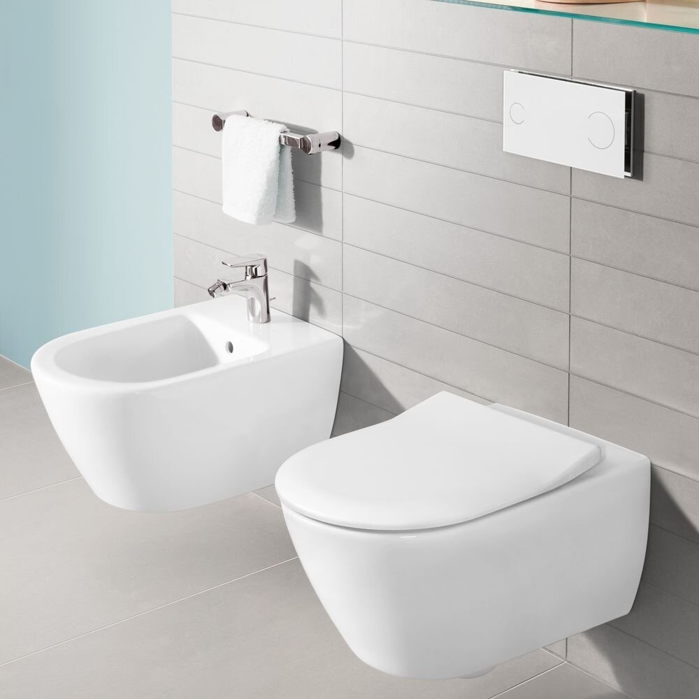 Set vas wc cu bideu suspendat Villeroy&Boch Subway 2.0 DirectFlush si capac slim soft close poza