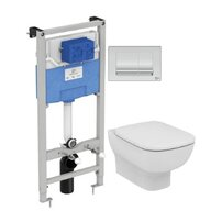 Set vas wc suspendat Ideal Standard Esedra AquaBlade cu capac inchidere lenta si rezervor Ideal Standard Prosys
