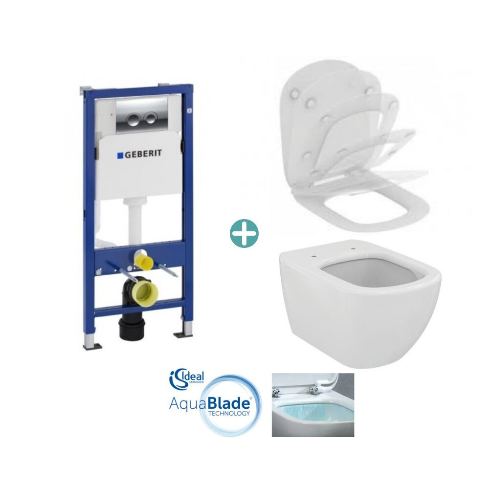 Set vas wc suspendat Ideal Standard Tesi AquaBlade cu capac si rezervor Geberit Duofix imagine neakaisa.ro