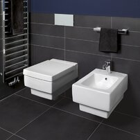 Set vas wc suspendat Villeroy&Boch Memento dreptunghiular cu bideu suspendat si capac soft close