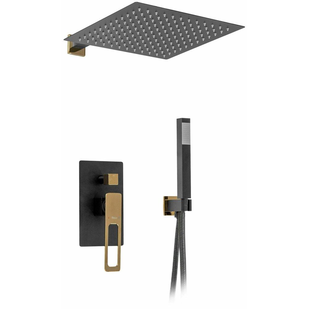 Sistem de dus cu baterie monocomanda Rea Soho negru mat auriu poza