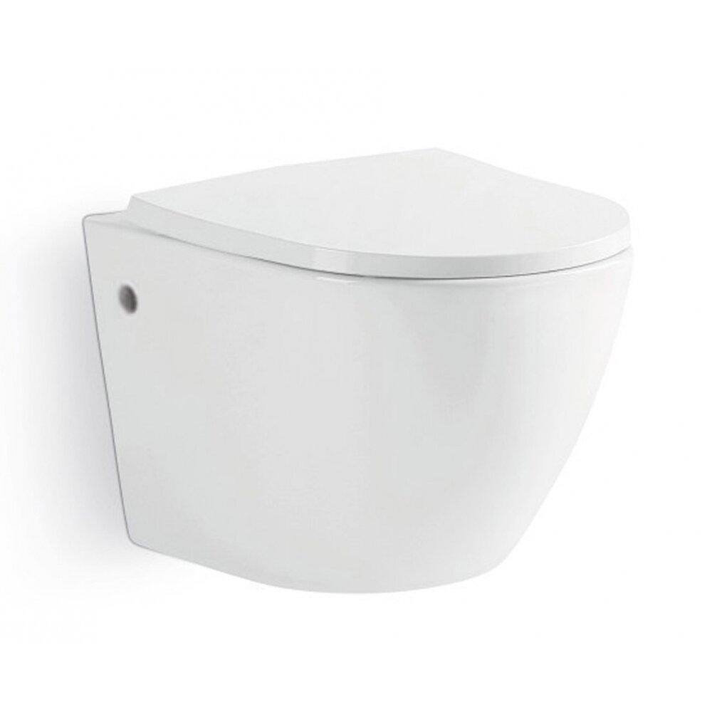 Vas de toaleta suspendat compact Dalet Rondo Rimless si capac soft close 49 cm imagine