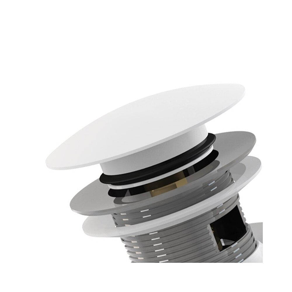 Ventil lavoar metalic cu click clack 5/4 tol dop alb mare cu preaplin Alcaplast