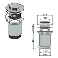 Ventil lavoar metalic cu click/clack 5/4 tol, dop mic Alcaplast