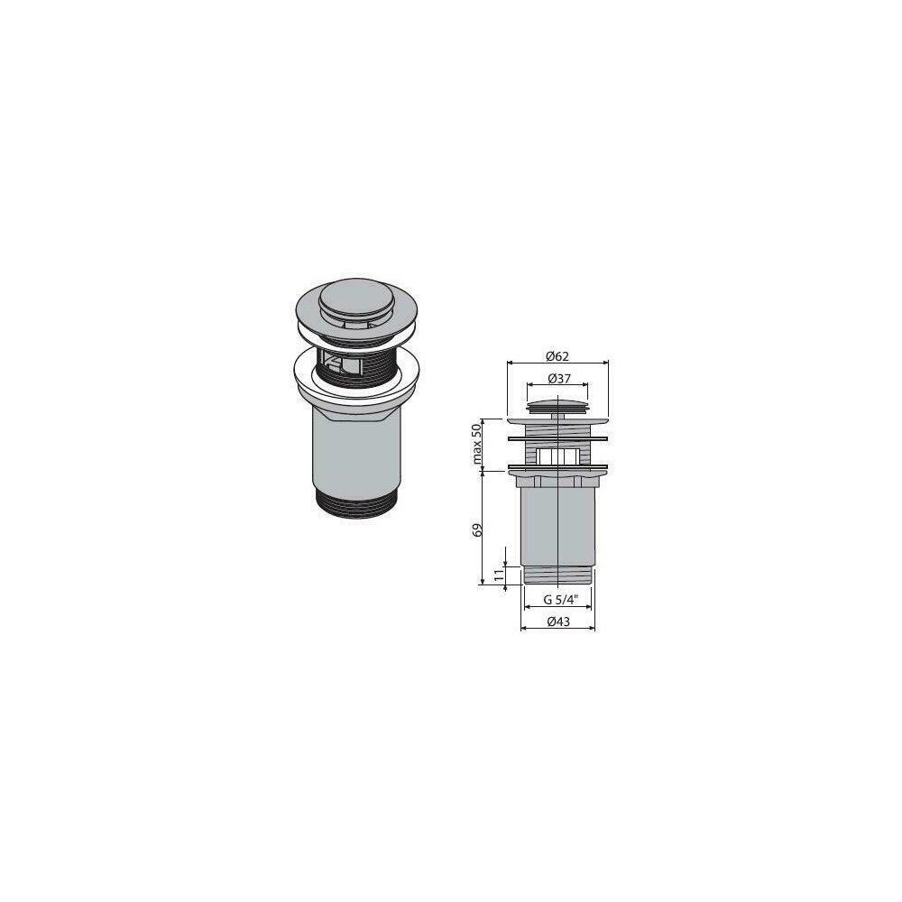 Ventil lavoar metalic cu click/clack 5/4 tol, dop mic Alcaplast poza