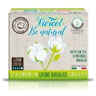 Absorbante din bumbac organic, cu aripioare, 12 buc - VIVICOT Be Natural