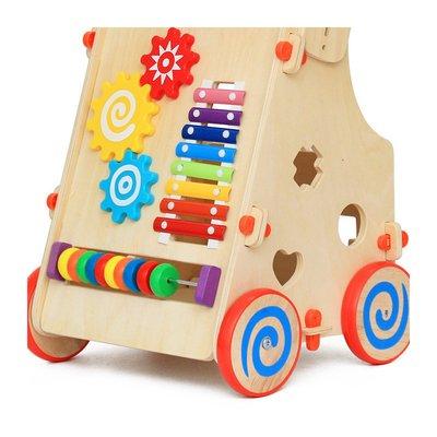 Baby Walker din lemn, antemergator interactiv cu inaltime reglabila
