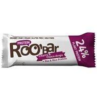 Baton proteic cirese ciocolata raw bio 40g Roobar