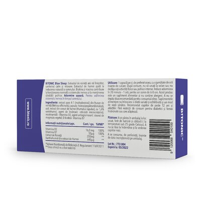 Blue Sleep - Supliment NATURAL pentru un somn linistit si odihnitor, 30 cps
