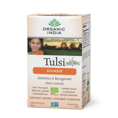 Ceai Tulsi (Busuioc Sfant) Ghimbir | Antistres Natural si Revigorant, 31.3 gr